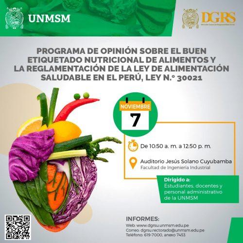 """TALLER """"BUEN ETIQUETADO NUTRICIONAL DE ALIMENTOS Y LA REGLAMENTACIÓN DE LA LEY DE ALIMENTACIÓN SALUDABLE EN EL PERÚ"""""""