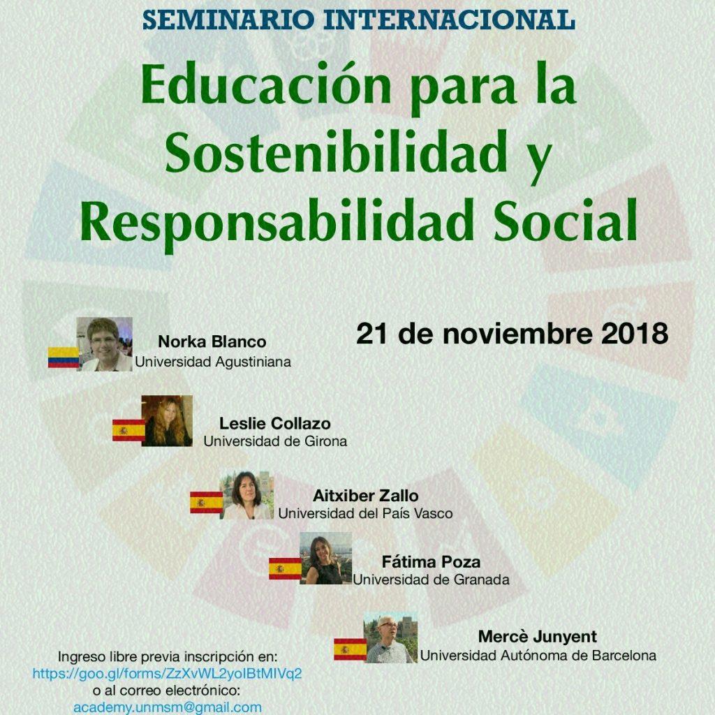 """SEMINARIO INTERNACIONAL """"EDUCACIÓN PARA LA SOSTENIBILIDAD Y RESPONSABILIDAD SOCIAL"""""""