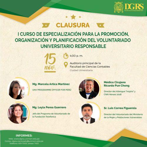 CLAUSURA DEL I CURSO DE ESPECIALIZACIÓN EN LA PLANIFICACIÓN, ORGANIZACIÓN Y PROMOCIÓN DEL VOLUNTARIADO RESPONSABLE