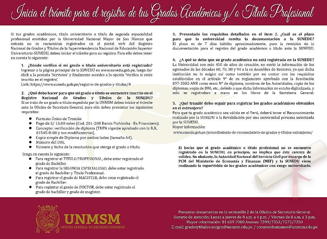 Inicie el trámite para el Registro de los Grados Académicos y/o Título Profesional.