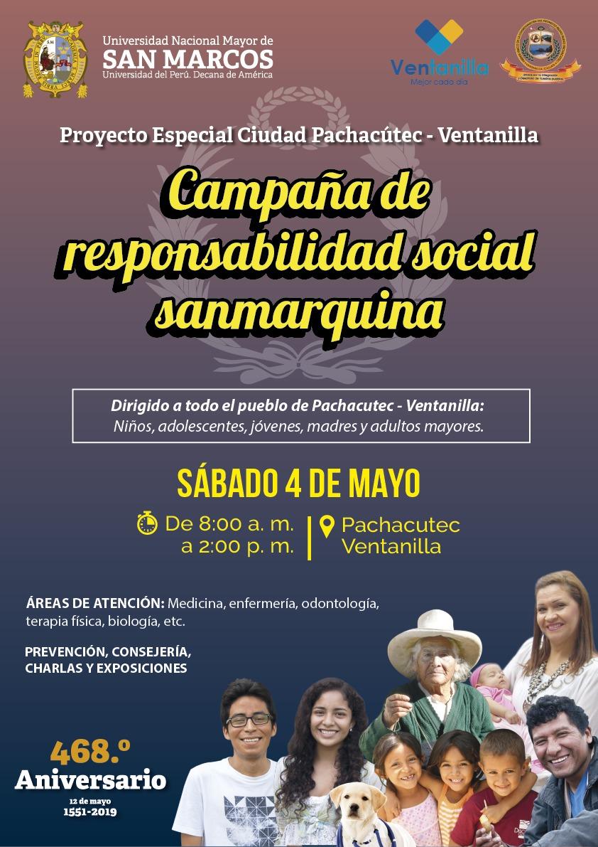 """Sábado 4 de mayo, """"Campaña de Responsabilidad Social Sanmarquina"""" en Proyecto Especial Pachacutec."""