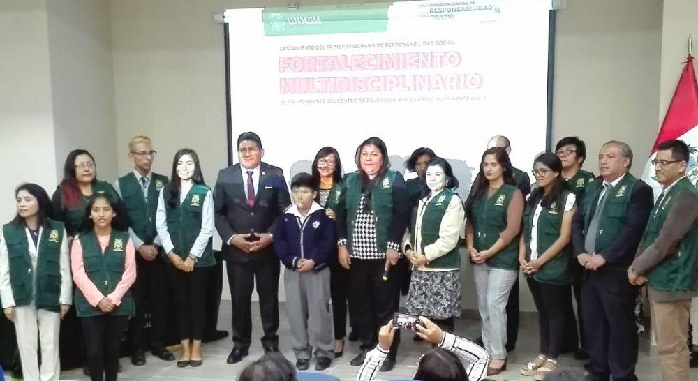 """Lanzamiento del Primer Programa de Responsabilidad Social """"Fortalecimiento Multidisciplinario al Equipo SAANEE del Centro de Educación Básica Especial 09 Santa Lucía"""""""