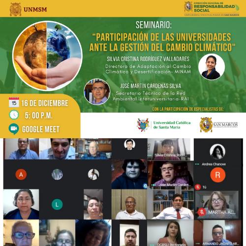 DGRS UNMSM congrega especialistas para disertar sobre la participación de las Universidades ante la Gestión del Cambio Climático