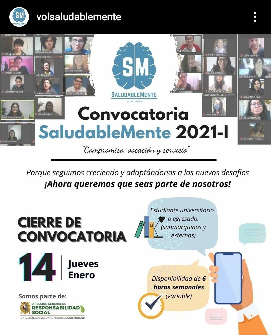 """Saludablemente Voluntariado UNMSM: """"CONVOCATORIA 2021-I"""""""