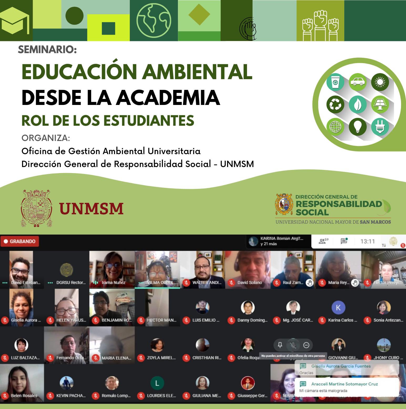 """Oficina de Gestión Ambiental Universitaria organiza Seminario """"Educación Ambiental desde la academia: Rol de los estudiantes"""""""
