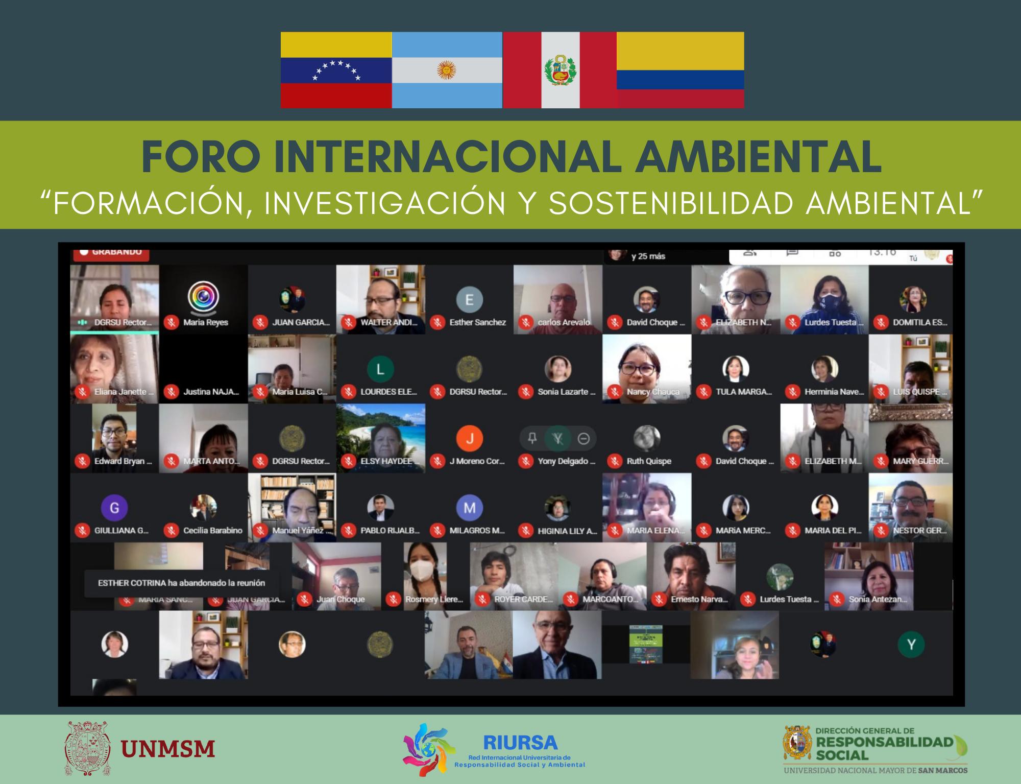 """Dirección General de Responsabilidad Social de la UNMSM organiza Foro Internacional Ambiental """"Formación, Investigación y Sostenibilidad Ambiental"""""""